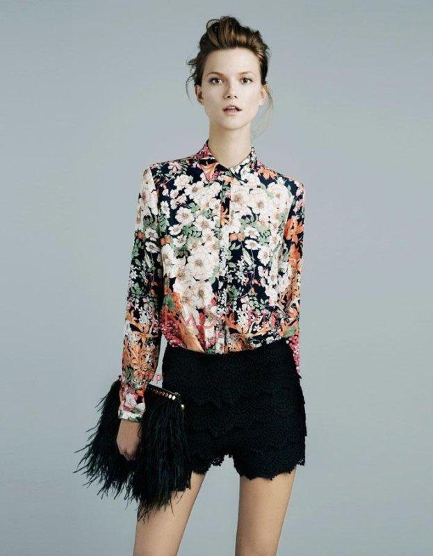 Womens ladies genuine zara basic vintage floral print for Zara mens floral shirt