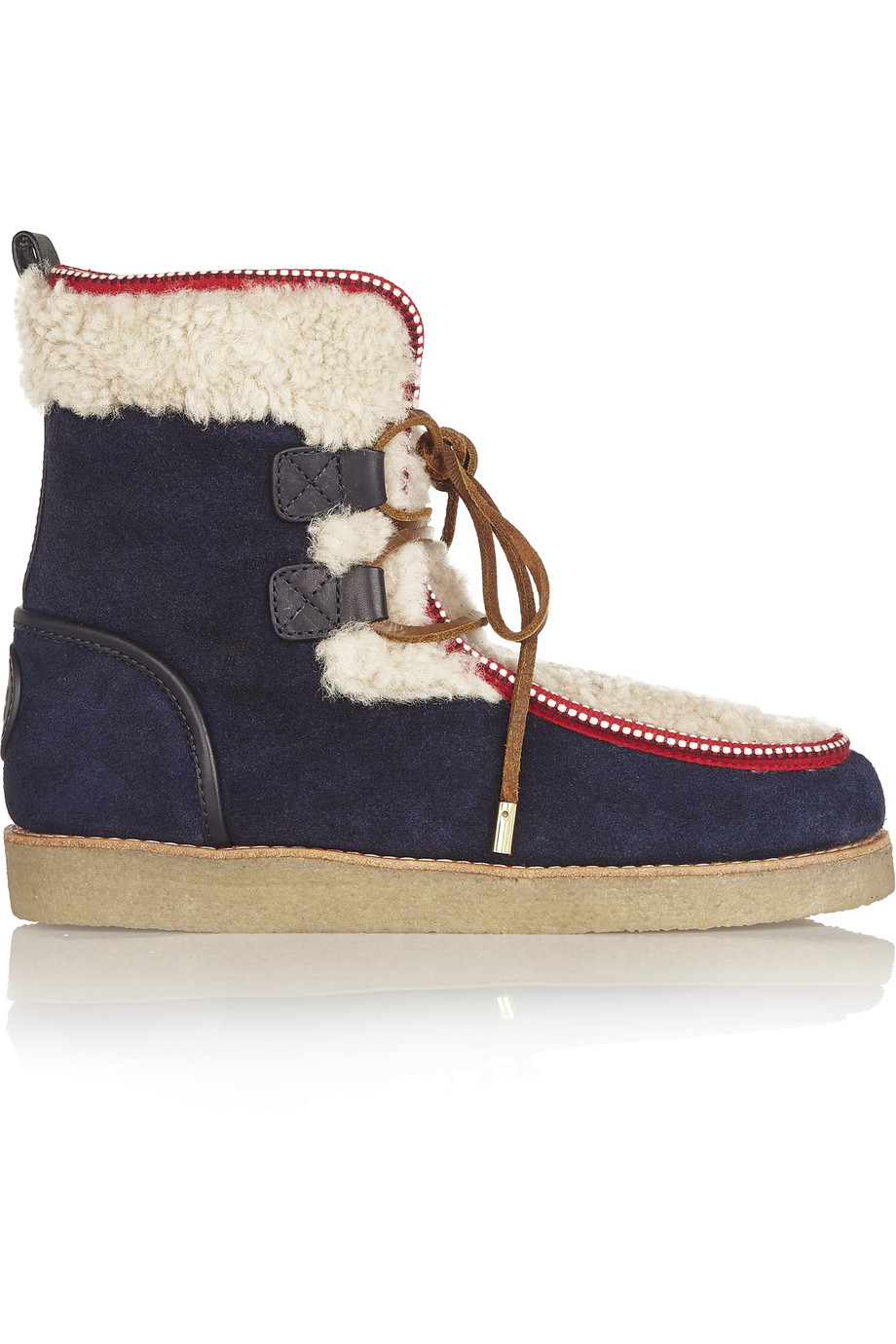 07acb9b9856 Elliot shearling and suede ankle boots
