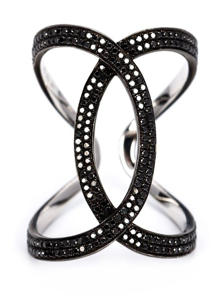 Kristin Hanson women ring gold black jewels