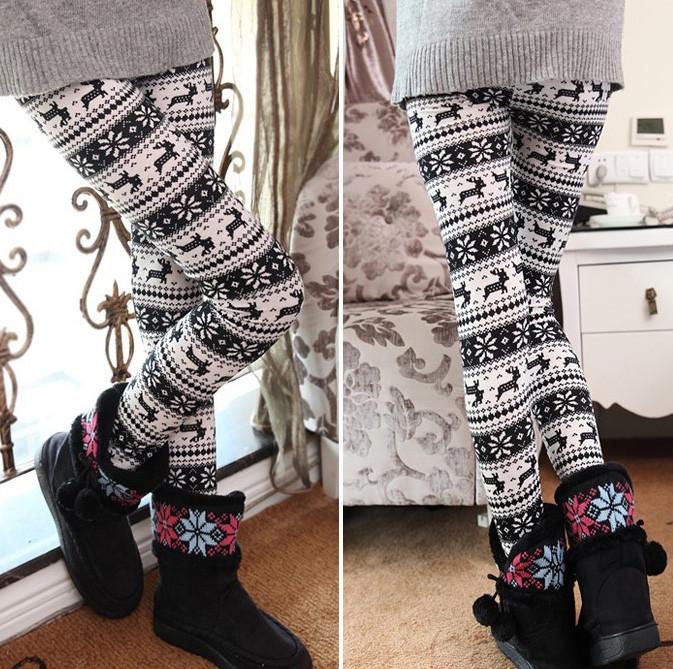 Snowflake cashmere warm pants