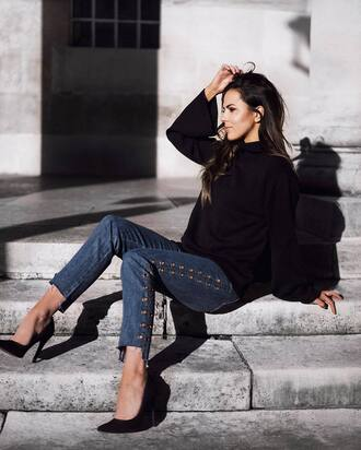 jeans tumblr blue jeans denim eyelet detail pumps pointed toe pumps high heel pumps black heels high heels heels sweater black sweater fall sweater fall outfits