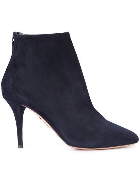 Aquazzura zip women ankle boots leather blue suede shoes