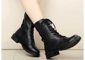 shoes boots combat black lace up women
