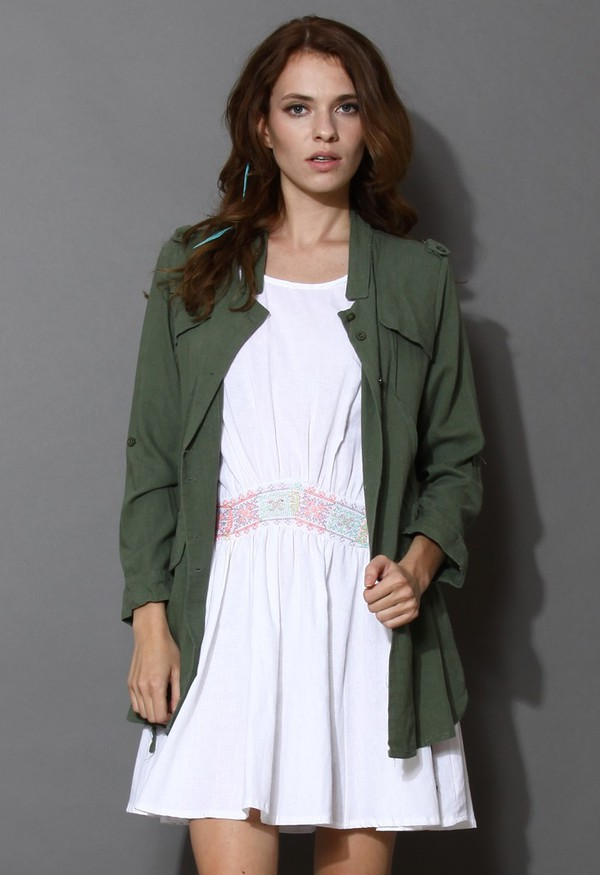 chicwish cut-out drapped parka green