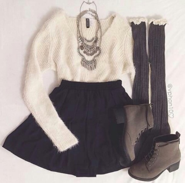 sweater skirt jewels socks shoes