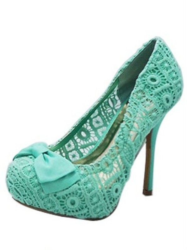 shoes lace mint bow