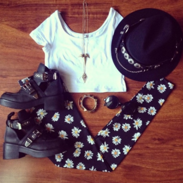 pants leggings daisy hat summer flowered shorts daisy flowers