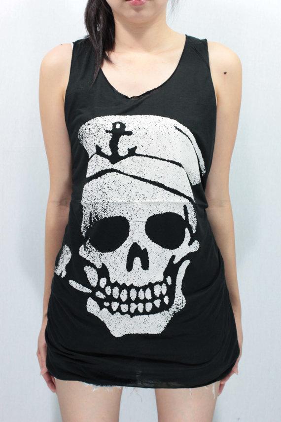 Navy skull sailor anchor pipe smoking tank top unisex handmade silk screen printing on wanelo