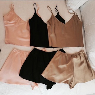 shorts black pink beige top nightwear and bottom pajamas cute love i need this help classy silk pajamas two-piece black or pink silk sleepwear satin pajama set romper silk shorts cami brown gold t-shirt shirt tank top blouse silk shorts velvet any color rose gold pajama shorts