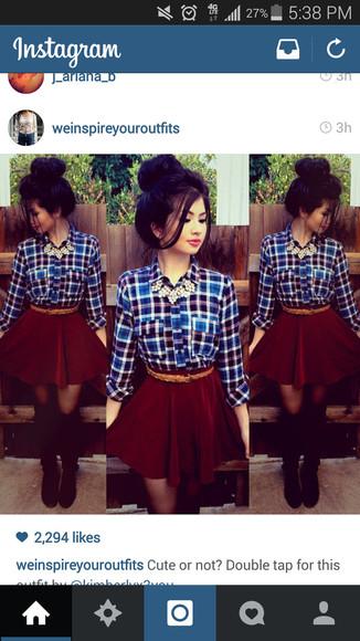 flannel shirt burgundy skirt statement necklace Belt