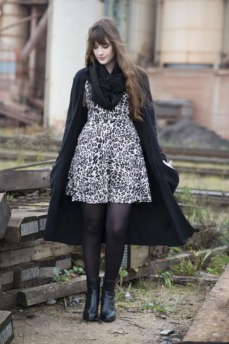 andy sparkles blogger cardigan scarf leopard print dress