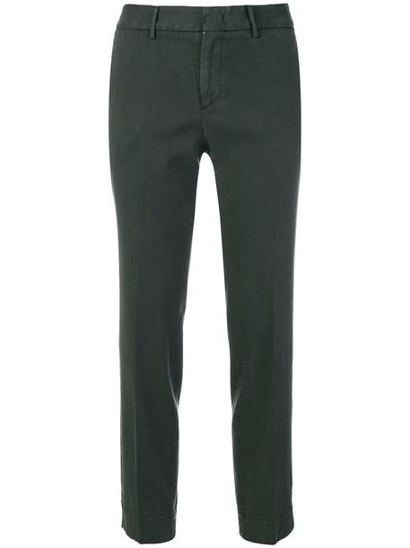 PT01 cropped women spandex cotton green pants