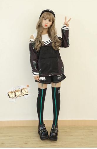 tights stockings neon anime cosplay line sock tights knee high tights dance hip hop harajuku street