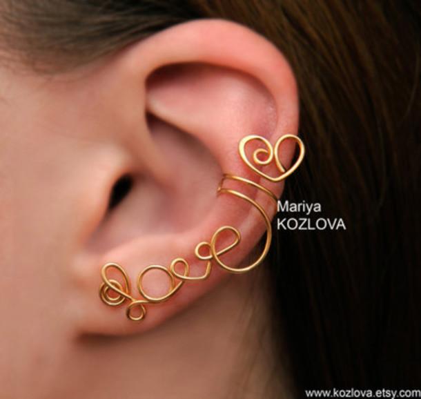 jewels love ear cuff gold
