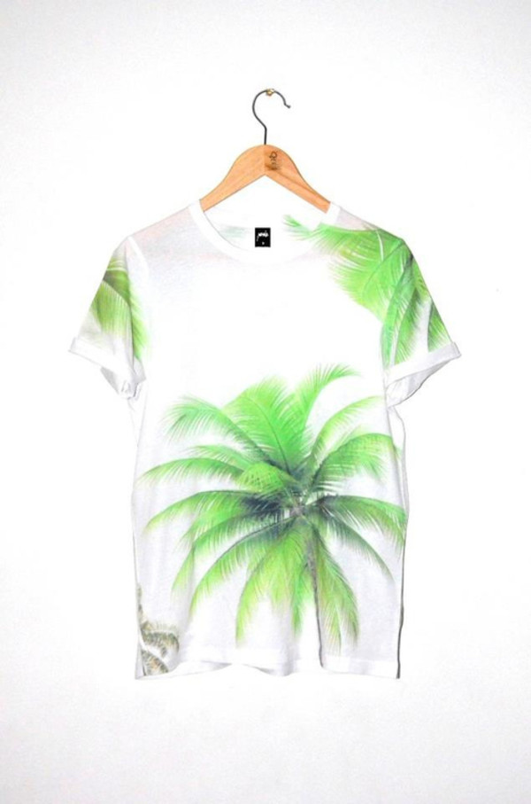 shirt cool t-shirt palm white green summer palm tree print palm tree