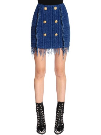 skirt mini skirt mini knit blue