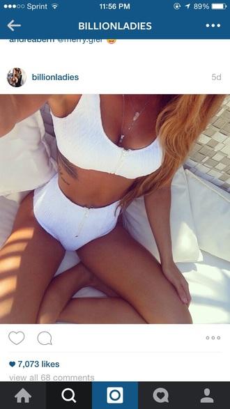 swimwear high waisted white