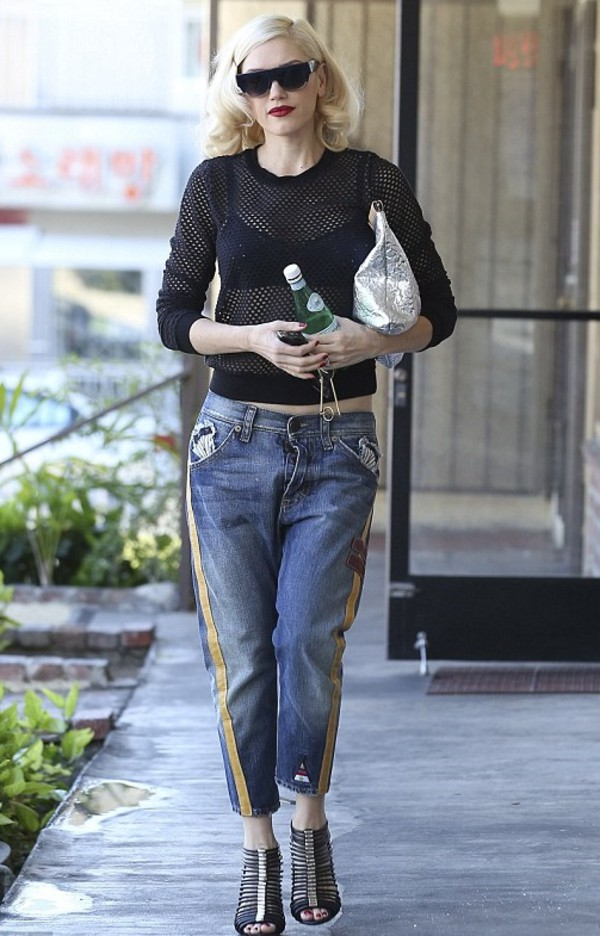 top black mesh gwen stefani athleisure side stripe pants
