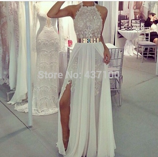 Vestidos de festa sexy halter slit high low chiffon white prom dresses 2014 appliques lace long evening party dresses gold belt