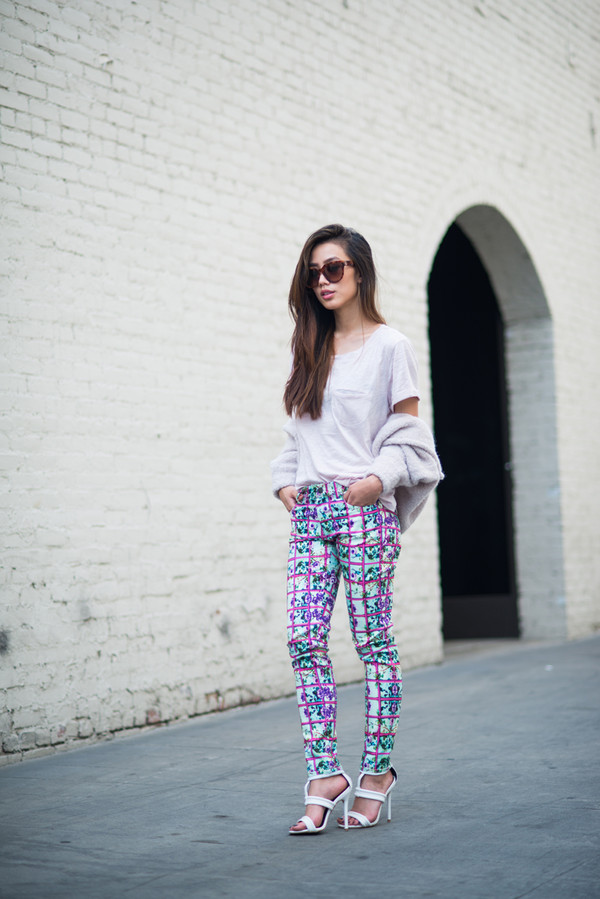 neon blush t-shirt shoes sunglasses pants