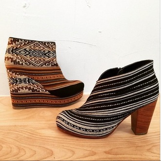 shoes wedges booties boots embroidered tribal pattern