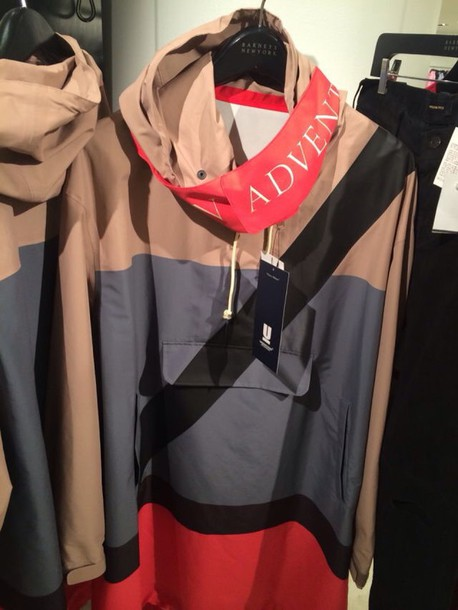 jacket tan orange windbreaker hood