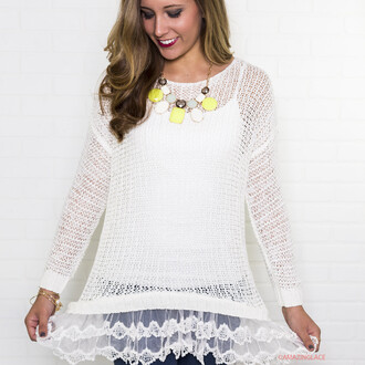 sweater ivory tunic shirt top amazinglace ruffles lace tunic sweater