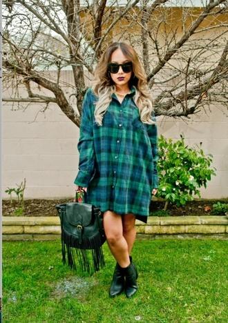 blouse forest green flannel flannel shirt flannel dress dress