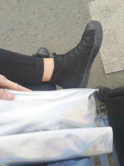 black converse leggings tumblr bag black and white shoes flower flowers black and white fashion fashion hollogram clutch rainbow denim