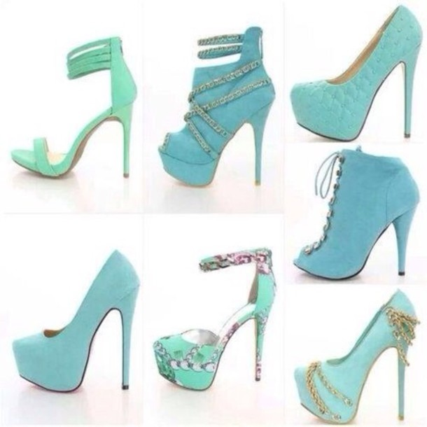 Shoes: light, baby blue, high, heels - Wheretoget