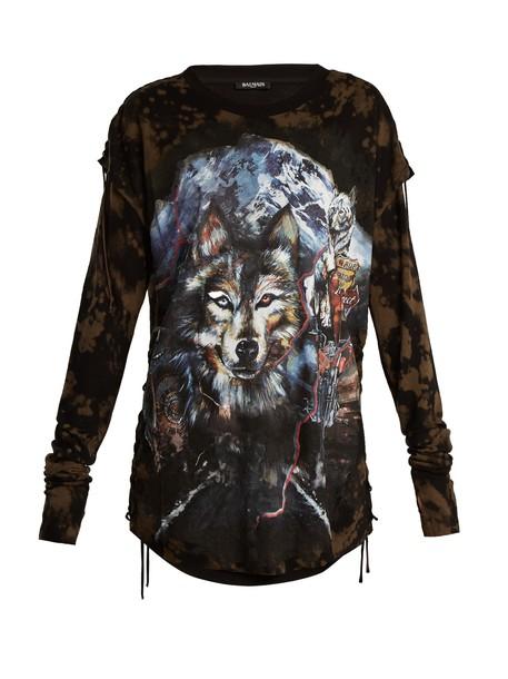 Balmain t-shirt shirt t-shirt wolf layered print grey top