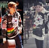 chanyeol,2ne1,sandara,korean fashion,kpop,camouflage,camo jacket,flags,exo,sweater