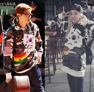 chanyeol 2ne1 sandara korean fashion kpop camouflage camo jacket flags exo sweater