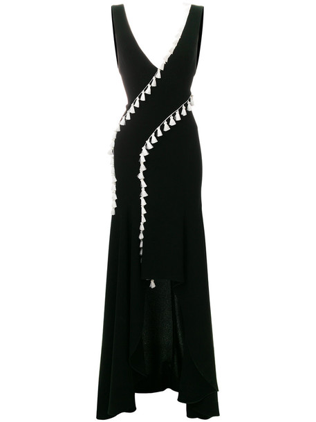 Galvan dress tassel women slit black