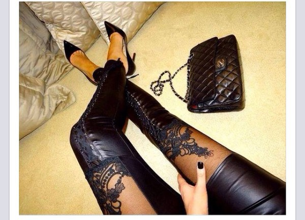 New Fashion Women Lace-Up Faux Pu Leather Lace Leggings Vogue ...