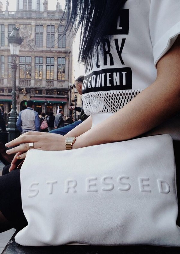 bag oh man ! i need shirt white advisory top stressed stressed bag sick white bag purse white purse style clutch