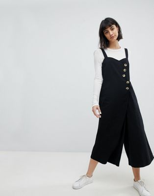 ASOS Jumpsuit with Horn Button Detail in Twill at asos.com