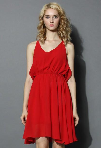 chicwish prime tiered cami chiffon dress