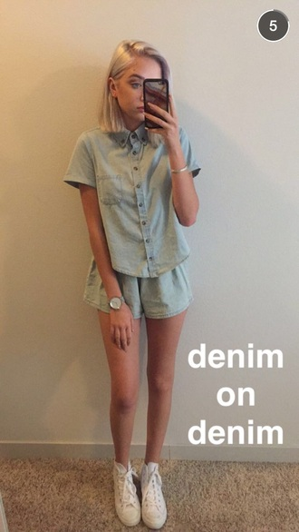 shorts maddi bragg denim demin shorts denim shirt