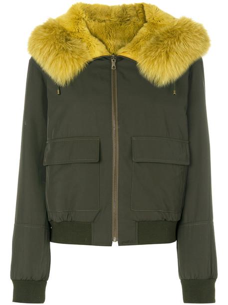 Army Yves Salomon jacket bomber jacket fur fox women spandex green
