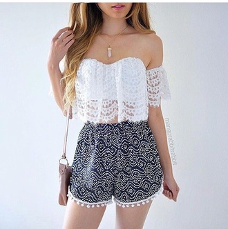 top white top shorts