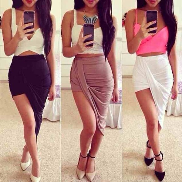 skirt tank top shoes shirt white black beige draped skirt side slit beige skirt skirt cute