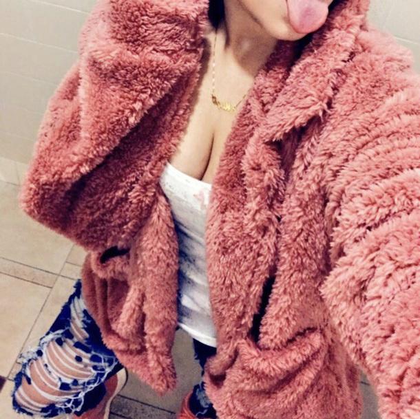 coat pink cardigan shaggy cartigan