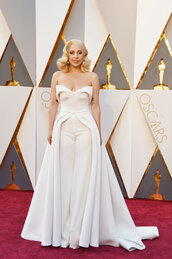 dress,pants,jumpsuit,gown,prom dress,bustier dress,strapless,red carpet dress,lady gaga,oscars 2016,brandon maxwell