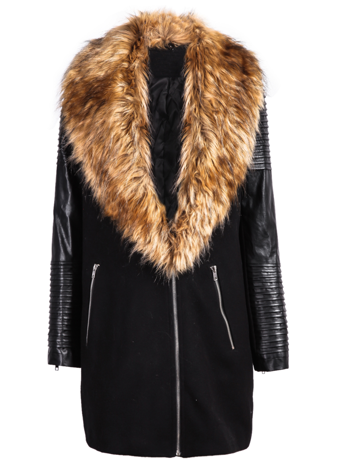 PU Leather Sleeve Faux Fur Lapel Coat - Sheinside.com