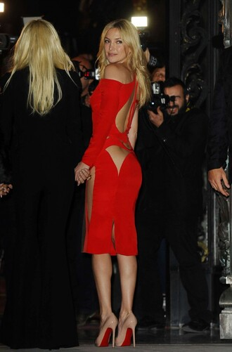 dress kate hudson red dress cut-out cut-out dress fashion couture versace