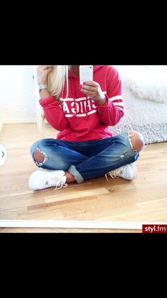 jacket sweatshirt red sweatshirt clothes casual clothes sweater hoodie stripes girly trendy shirt