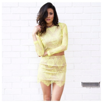 twin set top skirt yellow lace dress