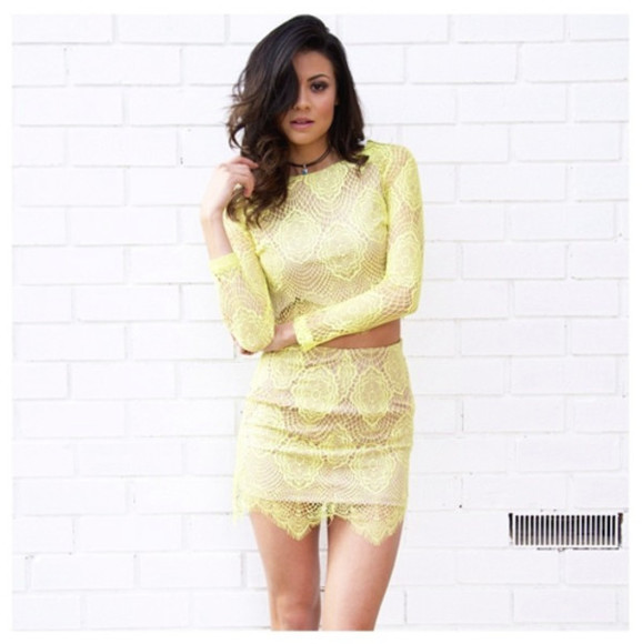 yellow lace skirt top twin set