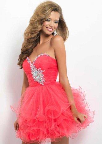 Ruffled short strapless beaded french rose layered prom dress [french rose layered prom dress]